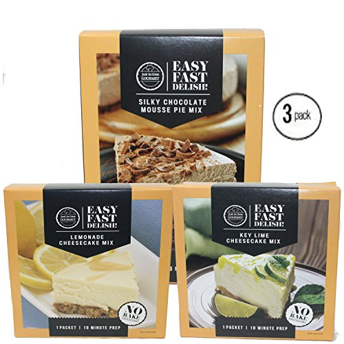 Just In Time Gourmet Silky Mousse Pie Mix | Lemonade Cheesecake Mix | Key Lime Cheesecake Mix BUNDLE 3 Pack by Just In Time Gourmet