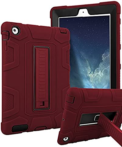 iPad 4 Case,iPad 3 Case,iPad 2 Case,TIANLI(TM) ArmorBox [Three Layer] Convertible [Heavy Duty] Rugged Hybrid Protective With KickStand Case For iPad 2/3/4 Generation ,Red/Black (Dark Red (Dark Layers Volume 2 Volume 1)