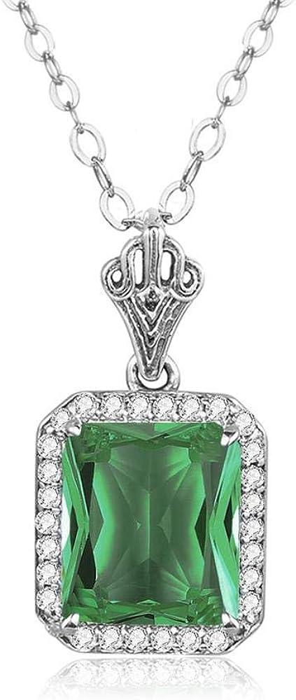 XTMM Collares Pendientes de Color Verde Esmeralda para Mujeres con Diamantes, Joyas de Plata 925, Piedras Preciosas, Aniversario, Regalo de cumpleaños, joyería Fina