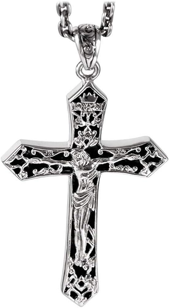 Sterling silver Engraved /'Jesus/' Cross Pendant