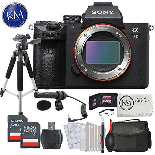 Sony Alpha a7 III Mirrorless Digital Camera Body w/Audio Technica Microphone & Tripod Deluxe Bundle