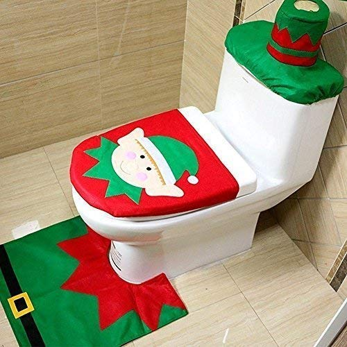 Christmas Snowman Santa Toilet Seat Cover Rug Bathroom Mat Set Xmas