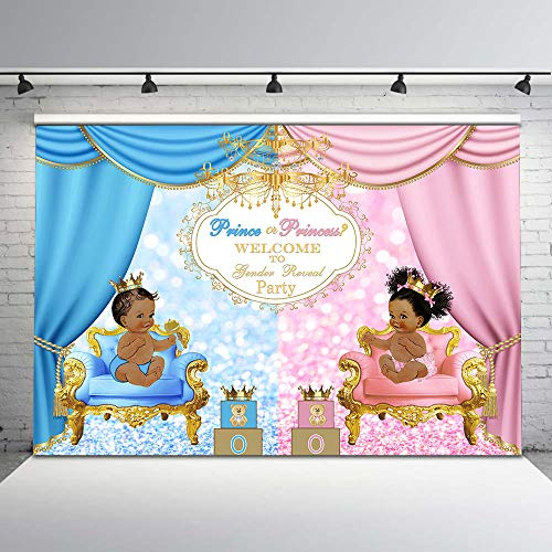 Mocsicka Prince or Princess Gender Reveal Party Backdrop Pink or Blue Glitter Photo Background 7x5ft Blue Bear or Pink Bear Gender Reveal Backdrops for Party Decorations