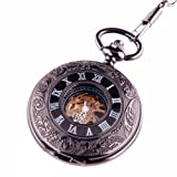 ShoppeWatch Black Pocket Watch with Chain Hand Wind Skeleton Mechanical Movement Steampunk Cosplay PW-69