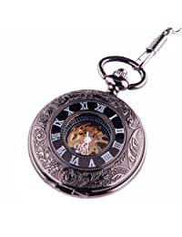 Black Pocket Watch Steampunk Skeleton Mechanical Movement Hand Wind Black Dial with Roman Numerals PW-69