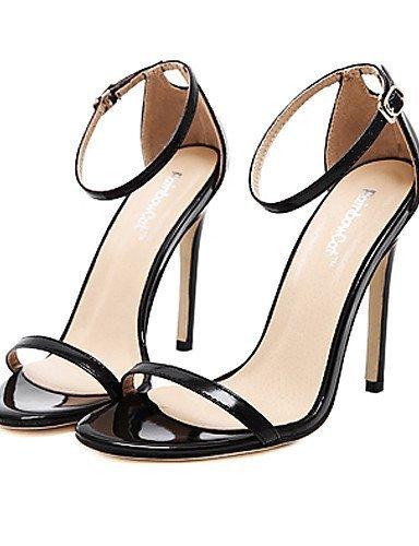 lfnlyx Chaussures Femme Stiletto Talon Bout Ouvert Sandales robe/Casual Noir/Rouge/Blanc/Amande noir Noir us8.5 / eu39 / uk6.5 / cn40