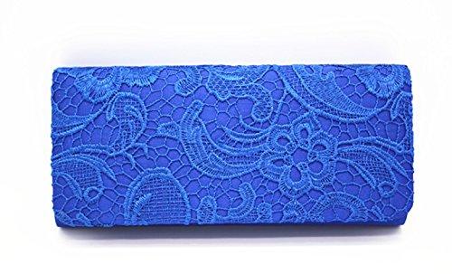 Evening Wedding Blue Floral Bag Purse for Cocktail Elegant Clutch Handbag Prom Silk Flowers Party Royal wHUqF