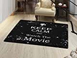 smallbeefly Keep Calm Door Mats Area Rug Watch the Movie Quote for Film Buffs Grungy Weathered Backdrop with Old Camera Floor mat Bath Mat for tub Black White