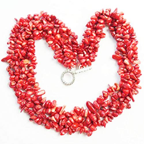 yt Gorgeous Charming Beautiful Red Coral Chips Necklace 17.5 inch