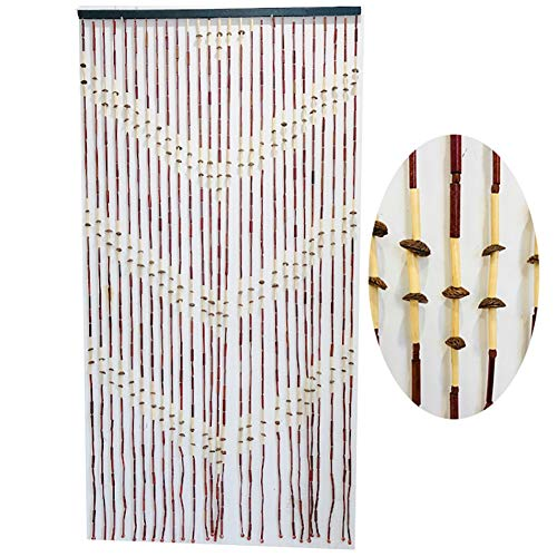 GuoWei 27 Strands Wooden Beaded Curtain for Doorway Passage for Room Divider Home Decor Retro Door Curtain, Customizable (Color : A, Size : 90x200cm)