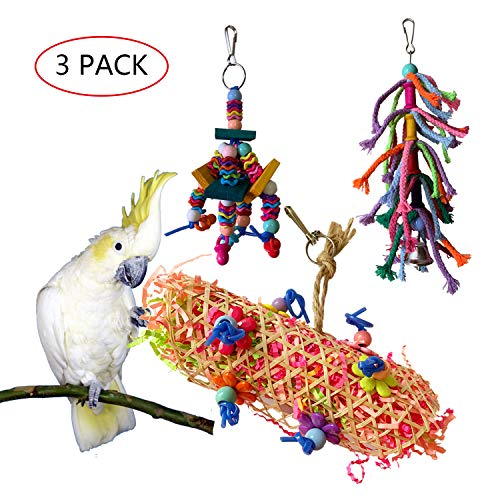 - Vehomy Bird Chewing Toys Handmade Parrot Shredder Toy Cage Hanging Foraging Shredding Toy Colorful Rope Knots Toy for Cockatiel Conure African Grey Amazon 3pcs