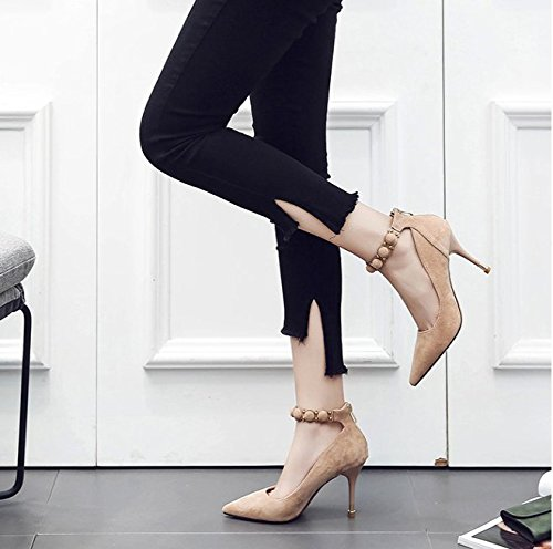 Shoes Suede Work With Elegant Heeled All 9Cm Point MDRW Shoes Leisure High Buckle The Fashion Spring Beige A Lady Fine Word 37 Match zvxEwqR