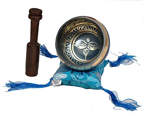 Tibetan Singing Bowl Set By Dharma Store - With Traditional Design Tibetan Buddhist Prayer Flag - Handmade in Nepal (Blue)