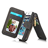 Felidio iPhone SE Wallet Case, Retro Genuine Leather Wallet Case for iPhone SE 5s 5, with Card Holder Zipper Magnetic Flip Detachable iPhone SE Case Cover [2 in 1], Black