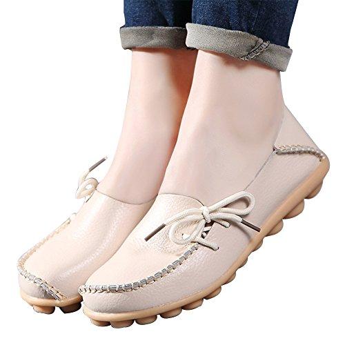 Lederne Müßiggänger-Schuhe der Amaxuan-Frauen wilde fahrende zufällige Ebenen Beige