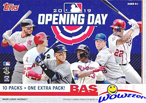 2019 Topps Opening Day MLB Baseball HUGE Factory Sealed Retail Box with 11 Packs & 77 Cards! Includes 1 Insert in EVERY PACK! Look for Autos of Mike Trout, Aaron Judge, Ronald Acuns & More! WOWZZER!
