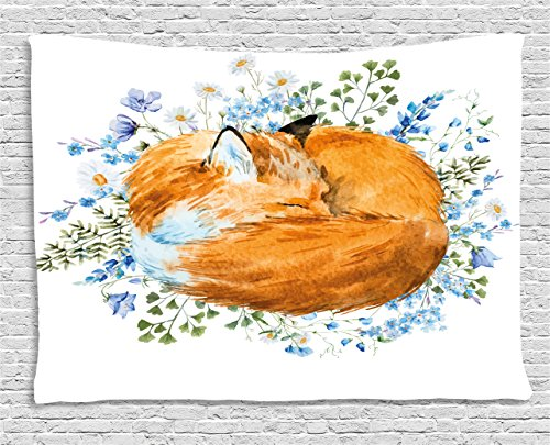 - Ambesonne Fox Tapestry, Sleeping Fox in Watercolors Hand Drawn Fresh Wild Flowers Blossoms Artwork, Wall Hanging for Bedroom Living Room Dorm, 60 W X 40 L Inches, Olive Green