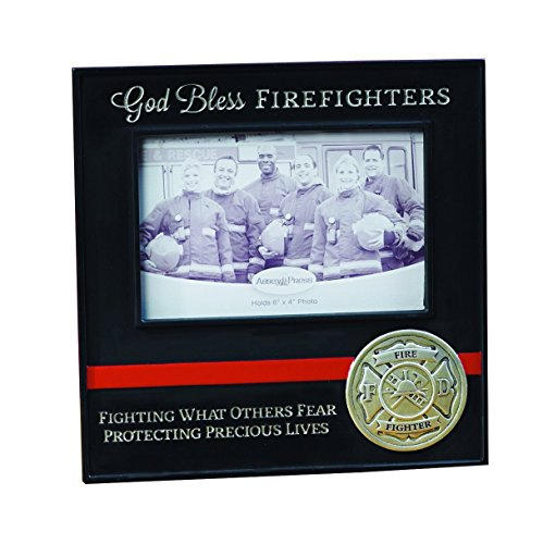 Firefighter Wood Frame - Abbey Gift God Bless Firefighters Frame