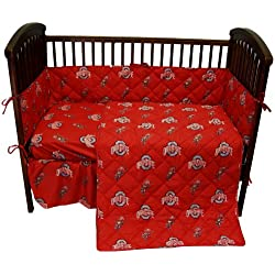 Ohio State Buckeyes 5 Piece Crib Set - Entire Set includes: (1) Reversible Comforter, (1) Bed Skirt , (2) Fitted Sheets and (1) Bumper Pad - Decorate Your Nursery and Save Big By Bundling!