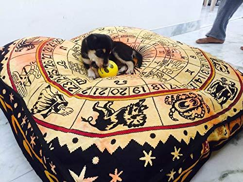 Ganesham Handicraft - Indian mandala tapestry Dog or Cat bed, mandala cushion cover, boho floor pillow, bohemian floor cushion, boho seating, boho decor, boho cat, baby or dog bed