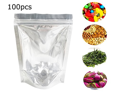 Lauren 100 Pcs Clear Silver Reclosable 2mil Mylar Zip Lock Bags Plastic Valve Zipper Pouches Bulk Food Storage Coffee Candy Foil Bags 13x20cm(5''x8'') by Lauren