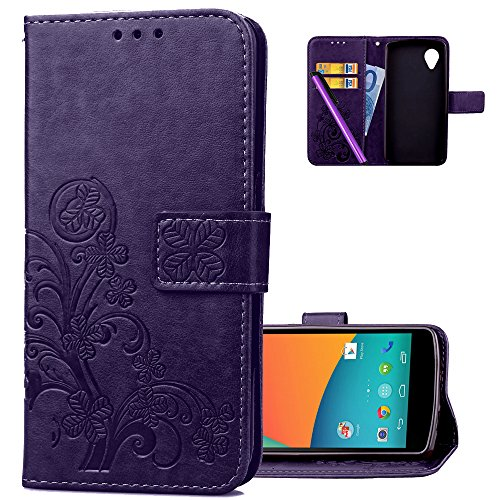HMTECH LG Nexus 5 Case,Embossed Floral Card Slots Magnetic Flip Stand Shockproof PU Leather Wallet Slim Protective Cover for LG Google Nexus 5 Lucky Clover Floral:Purple (Nexus 5 Phone Case Purple)
