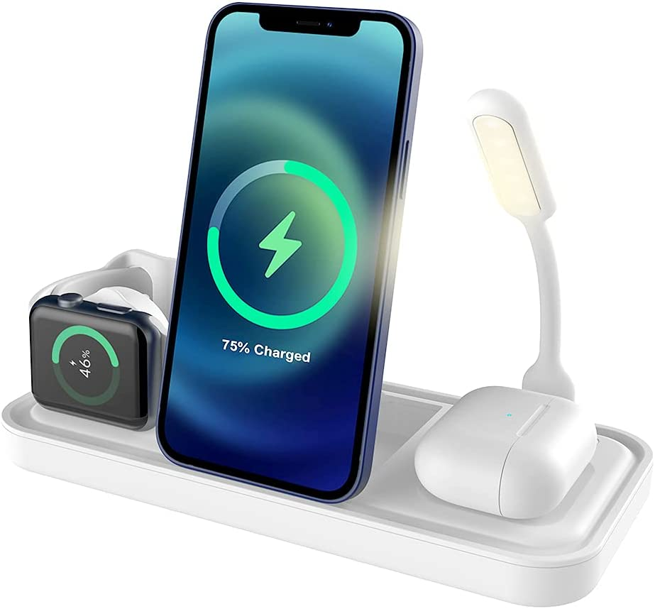 Apple Charging Station 5-in-1, 15W Qi-Certified Wireless Charger Stand Dock for iPhone, iWatch & Airpods, Foldable & Adjustable Horizontal/Vertical/Tilt Charge with Lamp