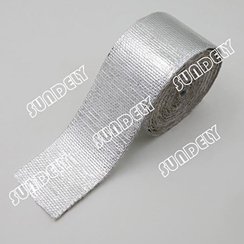 with Self Adhesive Backing 5cm x 450cm SUNDELY/® Reflective Silver Exhaust Manifold Pipe Heat Protection Wrap Tape Roll 2 X 15