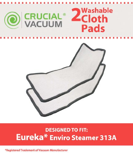 2 Eureka Enviro Floor Steamer Washable & Reusable Pad Fits Eureka Enviro Floor Steamer 310A, 311A, 313A; Compare To Eureka Enviro Hard Floor Steam Cleaner Part # 60978, 60980, 60980A; Designed & Engineered By Crucial Vacuum