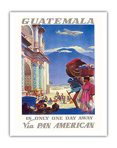 Guatemala Is Only One Day Away - Pan American World Airways (PAA) PAN AM - Vintage Airline Travel Poster by Paul George Lawler c.1938 - Fine Art Print - 11in x 14in ()