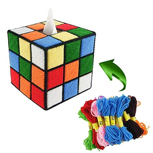 (RAXSUN Handmade DIY Cross Stitch Rubik Cube Shape Tissue Box Cover for Home Office ,Car Automotive Decoration (Unfinished))