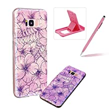 Silicone Case for Samsung Galaxy S8,Herzzer Luxury Ultra Slim Stylish Blue Light [Peach Blossom Pattern] Dual Layers Protection Soft TPU Bling Sparkle Glitter Protective Designer Case Cover for Samsung Galaxy S8 + 1 x Free Pink Cellphone Kickstand + 1 x Free Pink Stylus Pen