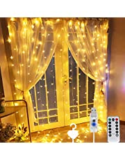 Beauenty Window Curtain String Light 300 LED 8 Lighting Modes USB Powered Waterproof Fairy String Lights Wedding Party Home Garden Bedroom Outdoor Indoor Wall Christmas Decorations (Warm White)