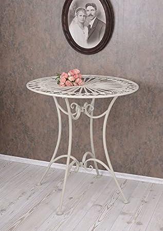 PALAZZO INT Gartentisch Weiss Tisch Shabby Chic Metalltisch Rund ...