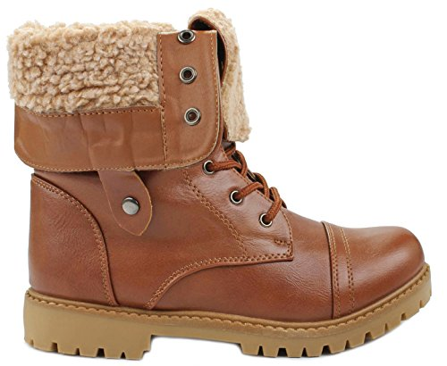 Cuff Lace Calf Boots Womens Sole Marie Bella Serrated Combat Dallas Mid Up Foldable Lined Shoes JJF 11 Fur Tan Anna YPaqvxw6