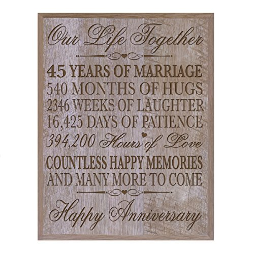 45th Wedding Anniversary Wall Plaque Gifts for Couple, 45th Anniversary Gifts for Her, Gifts for Him 12