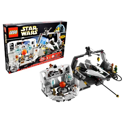 Lego Year 2009 Star Wars 10th Anniversary Classic Series Limited Edition Set #7754 - HOME ONE MON CALAMARI STAR CRUISER with Command Center, Briefing Room with Death Star