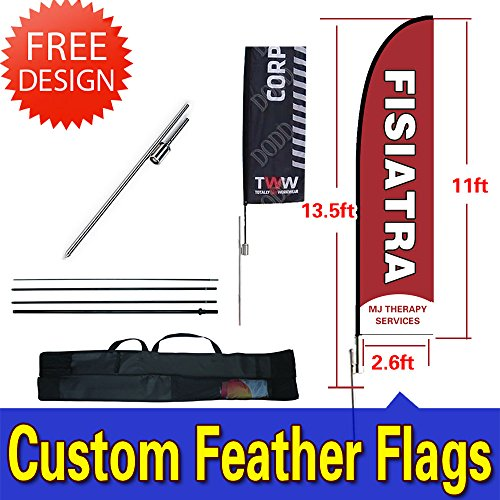 13.5ft Double-Sided Custom Flags and Banners Inground Spike+Poles+Carrybag