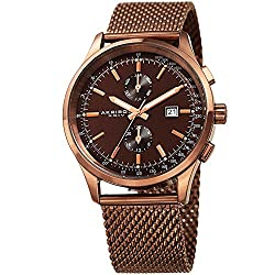Akribos XXIV Men's Brown Case with Rose-Tone Accented Brown Dial on Brown Stainless Steel Mesh Bracelet Watch AK944BR