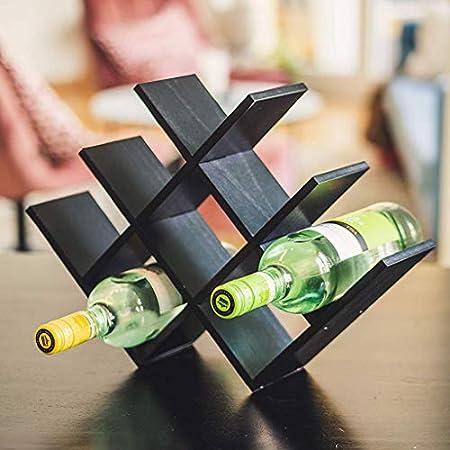 ASDF Estante para Botellas Vino, Botelleros Madera para Vino U Otras Bebidas, Vinoteca Natural Madera para 8 Botellas