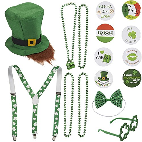 16 Piece Set St. Patrick's Day Leprechaun Costume Party Accessories - Includes St. Patty's Day Leprechaun Hat and Beard, Suspenders, Bead Necklaces, Bow Tie, Shamrock Shaped Glasses, and Pins ()