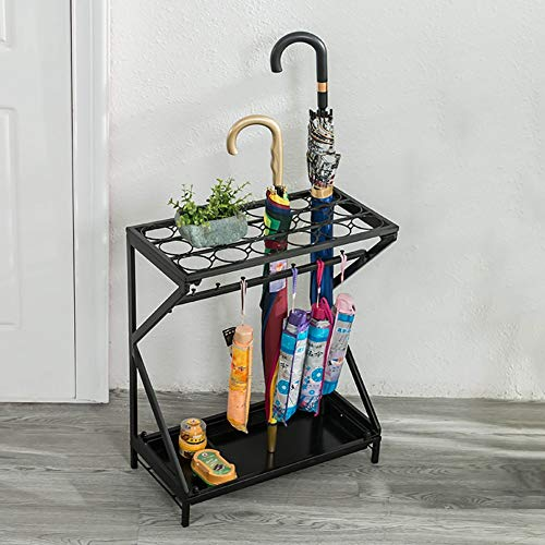 Umbrella Stands WSSF- Iron Art Hotel Lobby Umbrella Shelf Household Creative Floor-standing Rain Gear Canes/Walking Sticks Stand Storage Holder Umbrella Drain Rack,522560cm (Color : Black)