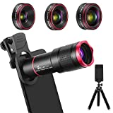 Phone Camera Lens Kit 9 in 1: 22X Telephoto Lens, 205° Fisheye Lens, 0.5X Wide Angle Lens & 25X Macro Lens, Compatible with iPhone 8 7 6 6s Plus X XS XR Samsung