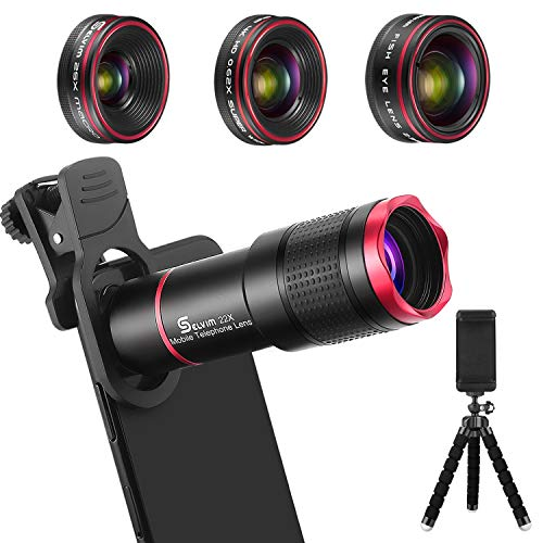 Phone Camera Lens Kit 9 in 1: 22X Telephoto Lens, 205° Fisheye Lens, 0.5X Wide Angle Lens & 25X Macro Lens, Compatible with iPhone 8 7 6 6s Plus X ()