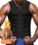 Eleady Neoprene Sauna Sweat Suits,Zipper Closure Tank Top Shirt for Weight Loss,Waist Trainer Vest Slim Belt Workout Fitness (Black Sauna Tank Top Men, M)
