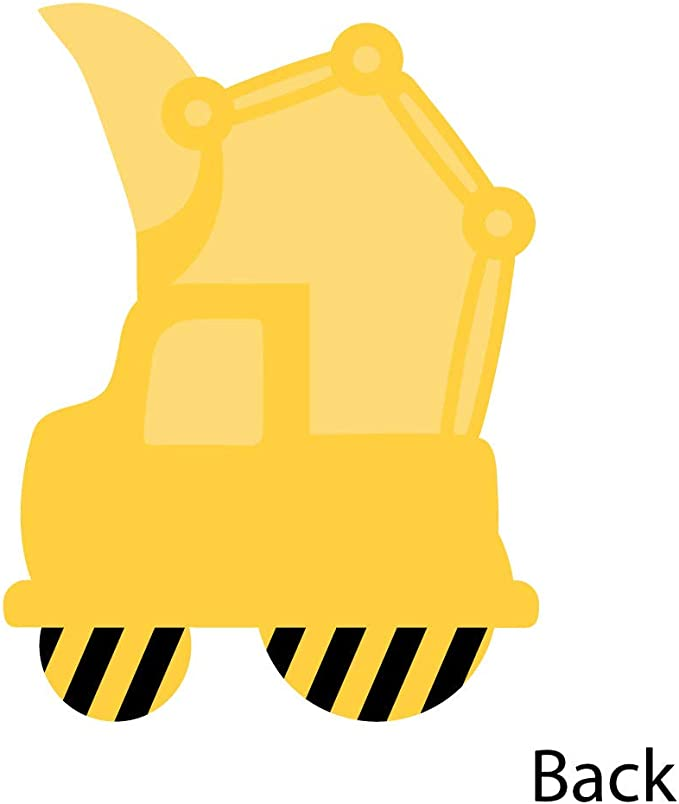 Construction Truck Set of 12 Shaped Thank You Cards Baby Shower or Birthday Party Thank You Note Cards with Envelopes
