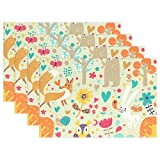 Top Carpenter Vintage Doodle Cute Animals Place Mats Washable Heat Resistant Polyester Table Mats 12'' x 18'', Set of 6