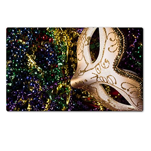 Luxlady Natural Rubber Large TableMat IMAGE ID: 26111871 Colorful Mardi Gras Mask with beaded (Carnavale Costumes)