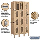 "Salsbury Industries 74368TN-A 12"" Four Tier Vented, 3 Wide x 6 Feet High x 18 Inches Deep, Assembled Metal Locker, Tan"