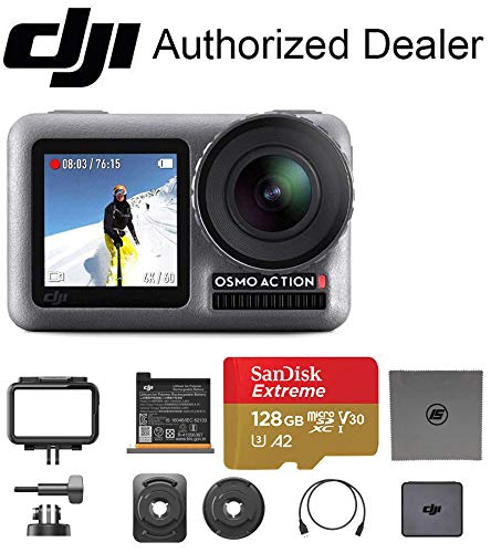 DJI OSMO Action - Dual Touch Display Waterproof Digital Action Camera with 4K HD Video 12MP Photos Live Streaming Stabilization (128GB Memory)